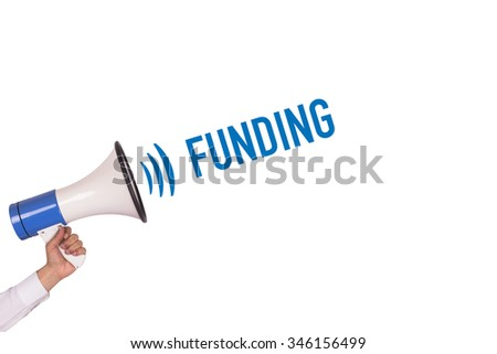 Hand Holding Megaphone with FUNDING Announcement - stock photo