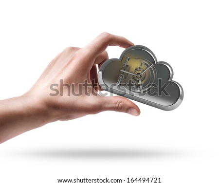 hand holding metal cloud  isolated on white background High resolution 3d