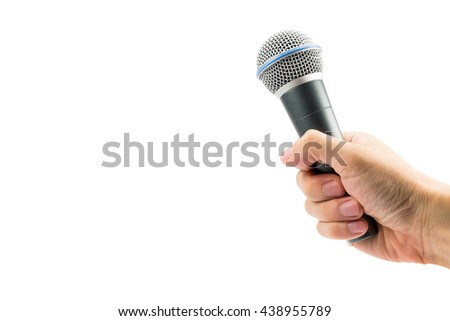 Hand holding microphone isolated on white background. file contains a clipping path.