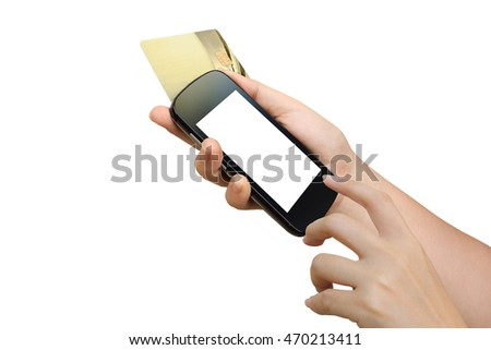 hand holding mobile phone and credit card ,isolate white background with clipping path