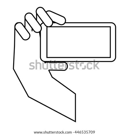 Hand holding mobile phone icon in outline style isolated on white background. Communication symbol