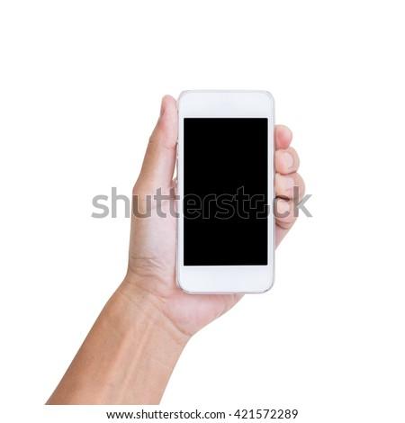 Hand holding mobile phone isolated on white background - stock photo