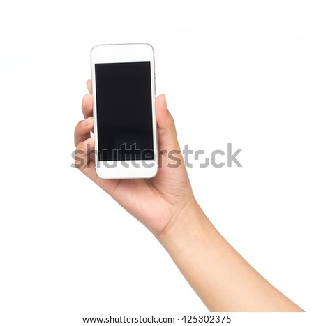 hand holding mobile phone isolated on white background. - stock photo