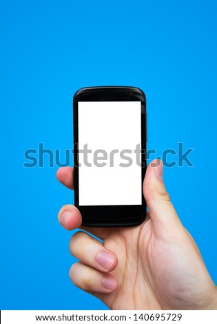 Hand holding mobile phone. Smartphone with blank display - stock photo
