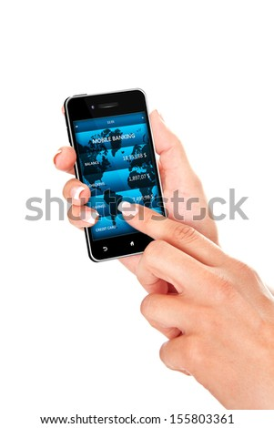 hand holding mobile phone with bank account screen over white background - stock photo