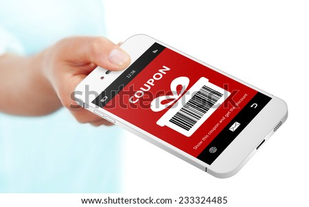 hand holding mobile phone with christmas coupon isolated over white - stock photo