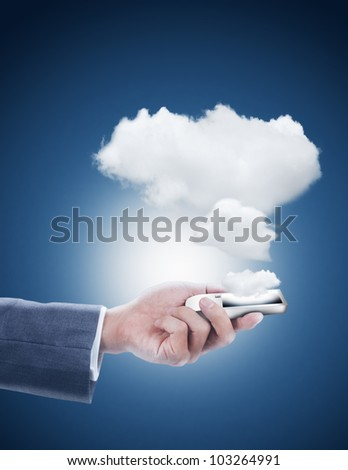 hand holding mobile phone with cloud computing - stock photo