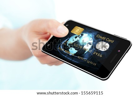 hand holding mobile phone with credit card screen isolated over white background - stock photo