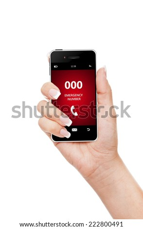 hand holding mobile phone with emergency number 000 isolated over white background - stock photo