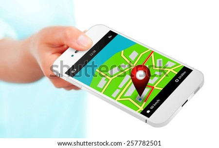 hand holding mobile phone with gps application and map over white background