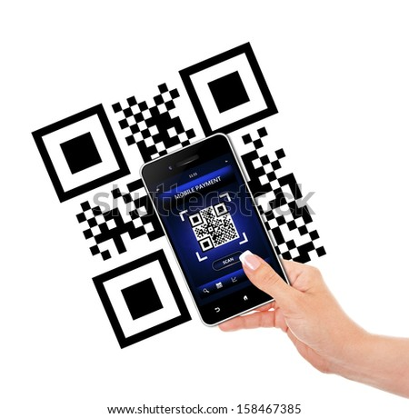 hand holding mobile phone with qr code screen isolated over white background - stock photo