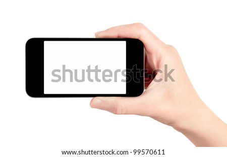 Hand holding mobile smart phone with blank screen. Isolated on white. - stock photo