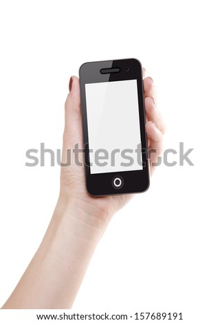 Hand holding mobile smart phone with blank screen. Isolated on white background. - stock photo