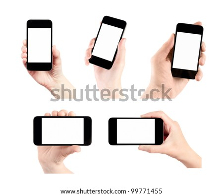 Hand holding mobile smart phone with blank screen. Set of 5 various photos. Isolated on white.