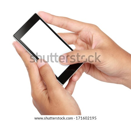 Hand holding mobile smart phone with blank screen. texting or sms. Isolated on white.