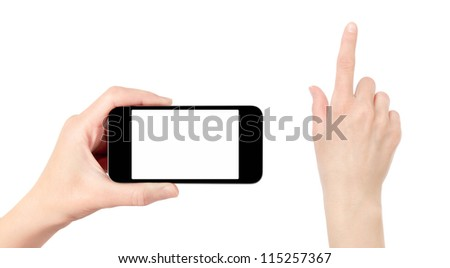 Hand holding mobile smart phone with blank screen. Touching hand have a clipping path. Isolated on white.