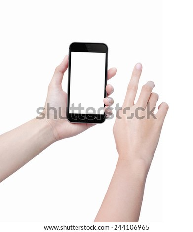 Hand holding mobile smart phone with blank screen. Touching hand have a clipping path. Isolated on white background. - stock photo