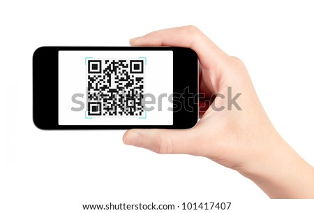 Hand holding mobile smart phone with QR code scanner on the screen. Isolated on white.