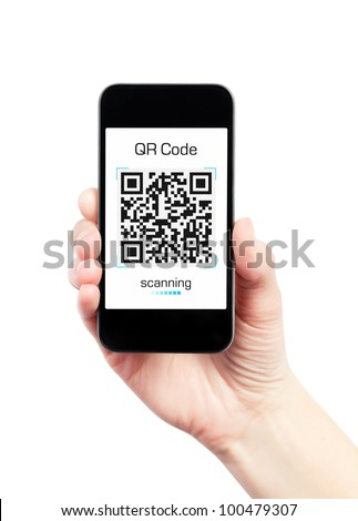 Hand holding mobile smart phone with quick response code pattern scanner on the screen. Isolated on white.