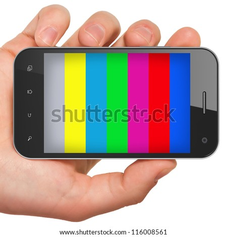 Hand holding mobile smart phone with tv test pattern screen. Interactive mobile smart tv concept, 3d render. - stock photo