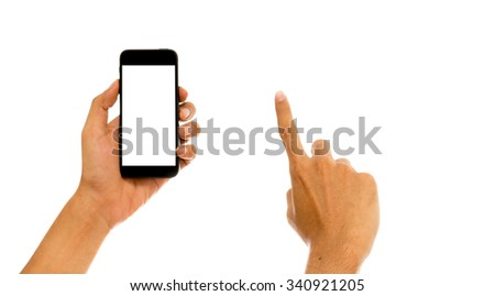Hand holding mobile smart phone with white screen - stock photo