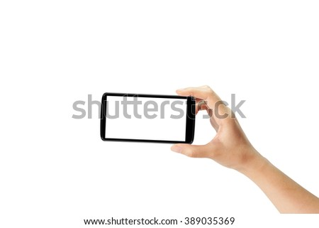 Hand holding mobile smartphone with blank screen, Mobile photography concept, Isolated on white.