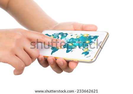 Hand holding Modern communication technology mobile phone show the social network - stock photo