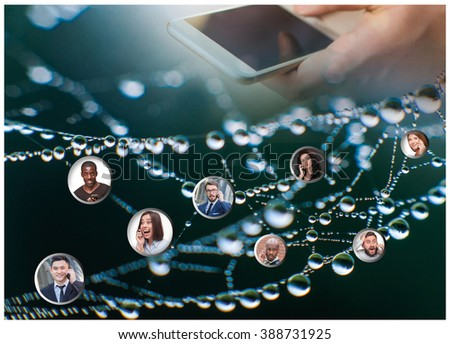 Hand holding modern mobile phone and web subscribers - stock photo