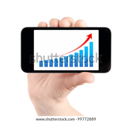 Hand holding modern mobile smart phone with success growth chart on screen. Isolated on white. - stock photo