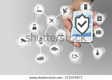 Hand holding modern smart phone on neutral background. Security for Internet of Things concept to secure mobile devices - stock photo