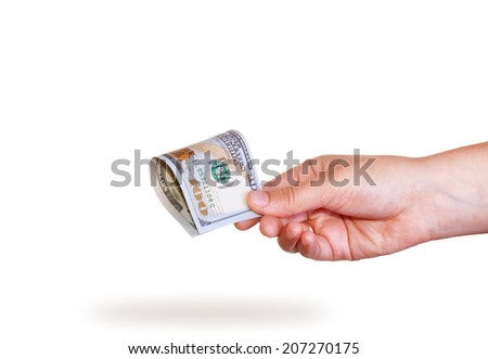 Hand holding money dollars isolated on white background