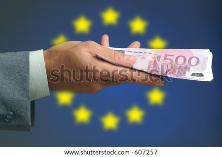 hand holding money eu - stock photo