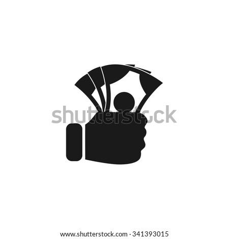 hand holding money icon. Flat design style  - stock photo