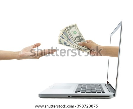 hand holding money payment online marketing concept. - stock photo