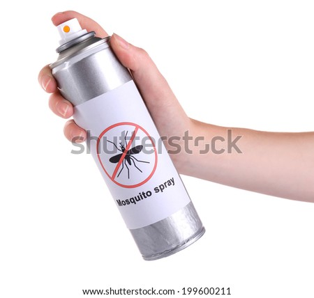 Hand holding mosquito spray isolated on white - stock photo