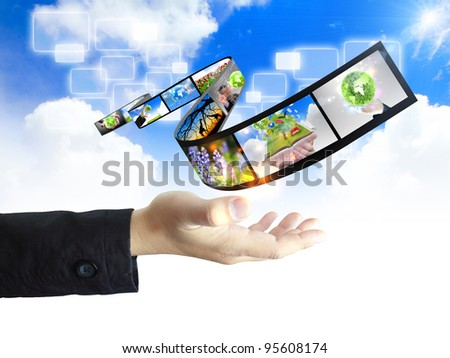 hand holding nature concept - stock photo