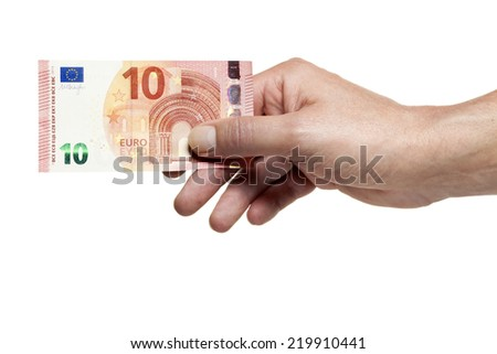 Hand holding new ten Euro bill isolated on white background - stock photo