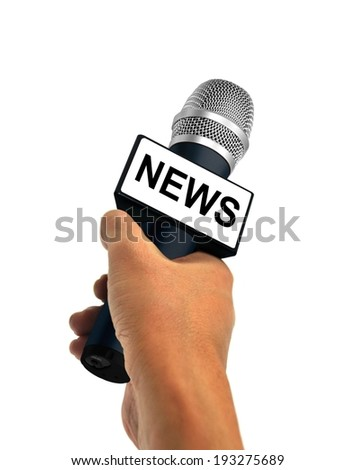 Hand Holding News Microphone - stock photo