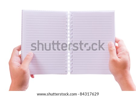 hand holding notebook isolated - stock photo