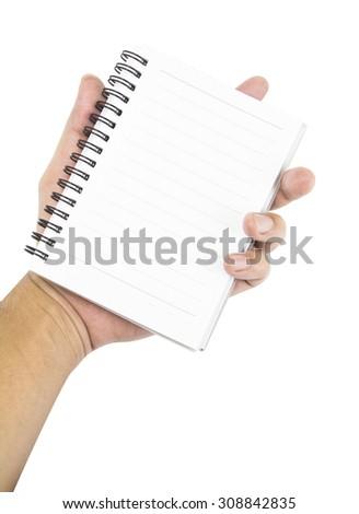 hand holding notebook on white background - stock photo