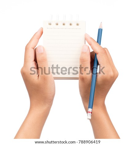 hand holding notebooks with a pencil isolated on white background
