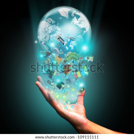 Hand holding object - stock photo