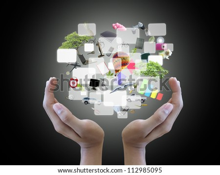 Hand holding object screen - stock photo