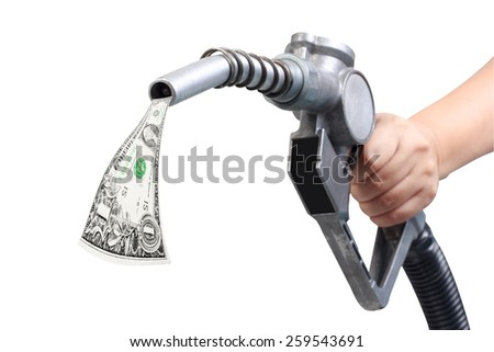hand holding oil pump with dollar bill isolated on white background with clipping path - stock photo