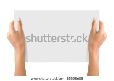 hand holding on a white blank paper isolated on white - stock photo