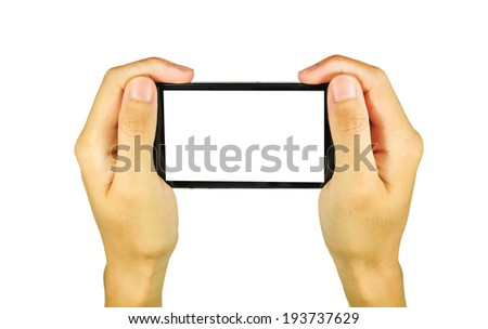 Hand holding on Black Smartphone with blank screen on white background