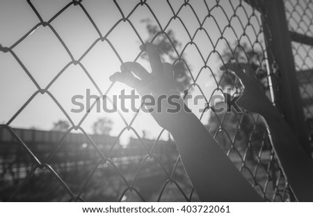 Hand holding on chain link fence , black and white. - stock photo