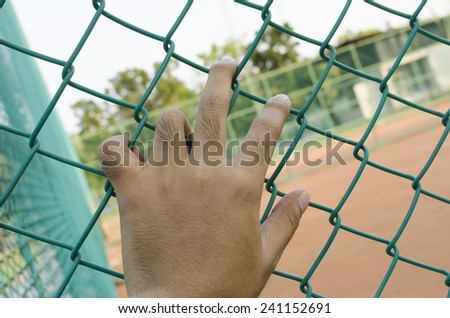 hand holding on chain link fence green - stock photo