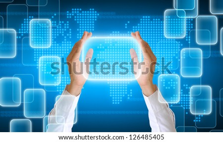 hand holding on technology background - stock photo