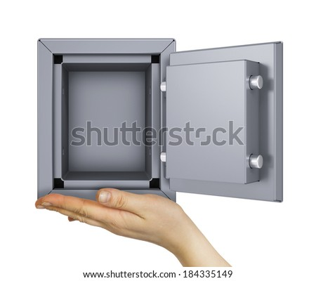 Hand holding open safe. Isolated on white background. safety concept - stock photo